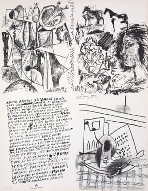 In 1935, with his personal life in turmoil, Picasso gave up painting and wrote poetry instead, producing 340 in the following 15 years. His stream-of-consciousness style – with images added later – influenced the surrealists.