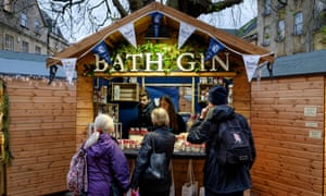 A stall selling gin at Bath's Christmas market.