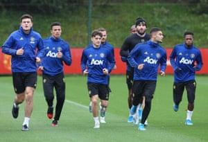 Harry Maguire, Mason Greenwood, Daniel James, Juan Mata, Luke Shaw, Andreas Pereira and Fred during training.