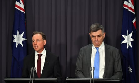 Minister for Health Greg Hunt and Chief Medical Officer Professor Brendan Murphy at press conference