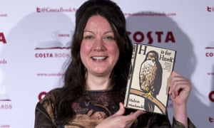 British author Helen Macdonald poses with her Biography Award winning book 'H is for Hawk'.
