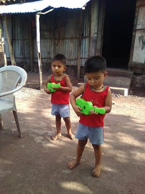 Two of Blanca's sons pictured in El Salvador.