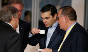 Alexis Tsipras (centre), then Greek prime minister, in 2015
