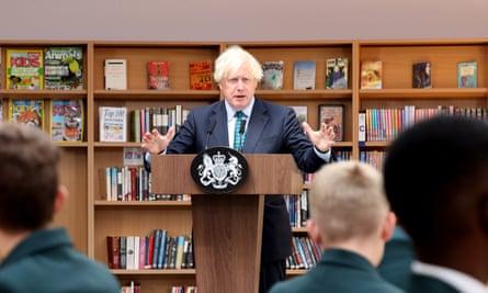 Boris Johnson addresses students at Castle Rock school in Coalville on Wednesday.