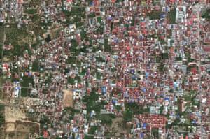 This satellite image from 17 August, 2018, shows the Balaroa neighborhood of Palu, Indonesia.