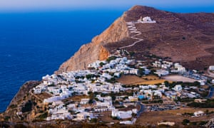 Chora town on Folegandros with the church of Panagia above.