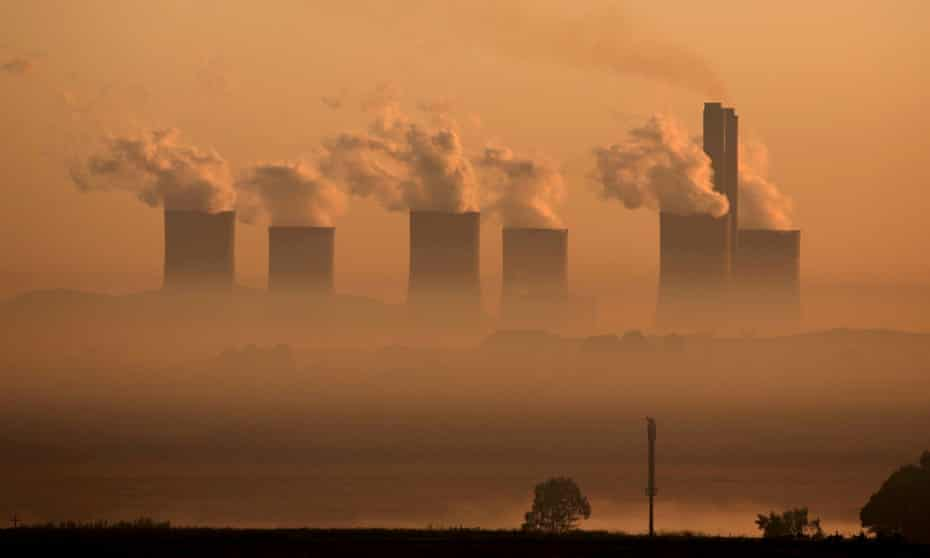 Steam rises from a coal-fired power station in South Africa. Sections of the report show coal use growing strongly, contributing to the second-largest increase in CO2 emissions in history.