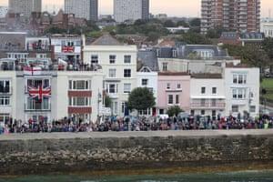 Crowds watching as HMS Queen Elizabeth arrive