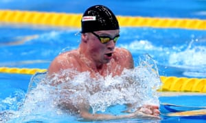 Adam Peaty in action during the 50m breaststroke.