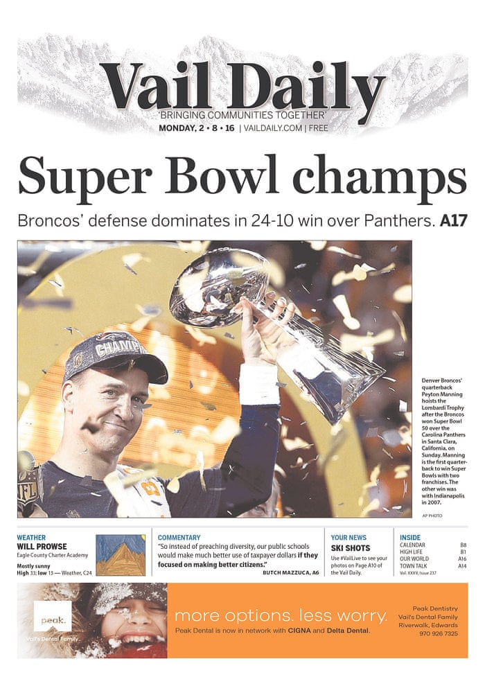 Super Bowl 50 The Newspaper Front Pages In Pictures Sport The