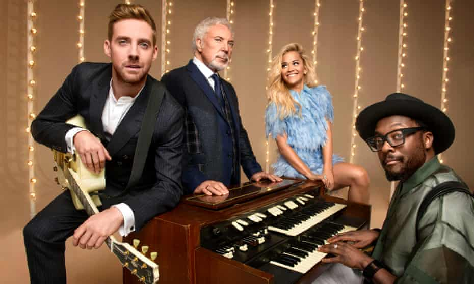 Wilson with fellow The Voice judges Sir Tom Jones, Rita Ora and Will.i.am.