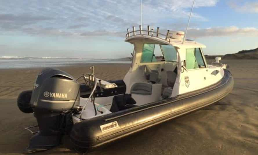 A boat, found on 90-mile-beach in New Zealand, containing a record haul of methamphetamine.
