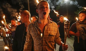 White nationalist groups marched in Charlottesville, Virginia, in 2017, many chanting 'Jews will not replace us!' Donald Trump said they included some 'very fine people'.