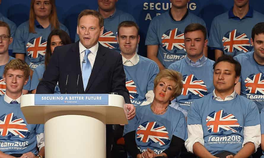 Mark Clarke (front row, right) listens to Grant Shapps during the 2015 election campaign.