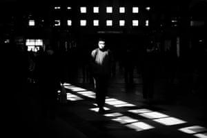 A commuter at Shinagawa train station