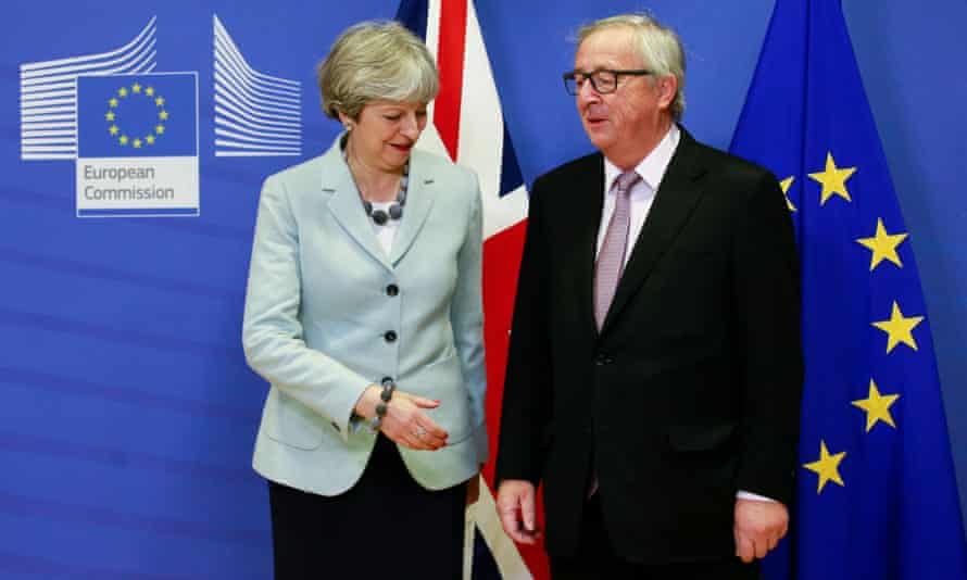 Theresa May and the European Commission president Jean-Claude Juncker at last week's talks in Brussels