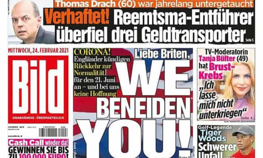 'Britain, we envy you' – front page of the German newspaper Bild, 24 February 2021.