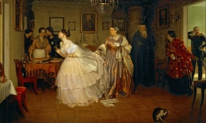 A 19th century Russian painting of an older woman holding the skirts of an excited bride wearing white