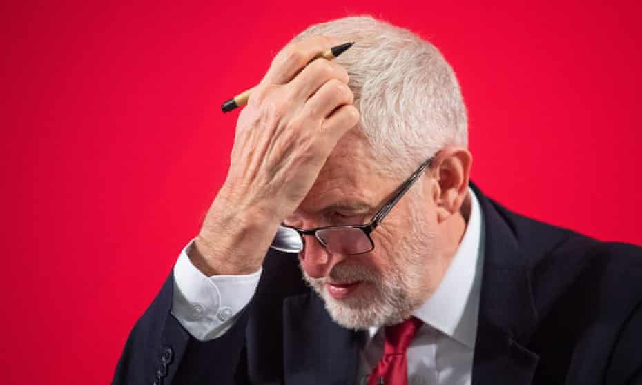 Jeremy Corbyn, leader of the devastated Labour part.