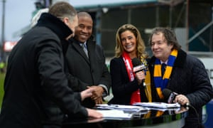 Carolyn Radford and her husband John, Mansfield's chairman, right, talk to an ESPN panel including John Barnes before an FA Cup game against Liverpool in 2013.