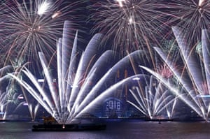 Fireworks over Victoria Harbour in Hong Kong