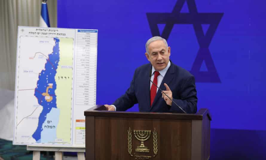 Benjamin Netanyahu shows a map of the Jordan Valley in his election pledge to annex part of the West Bank.