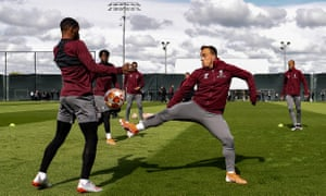 Georginio Wijnaldum, Xherdan Shaqiri and Divock Origi during training on Monday.