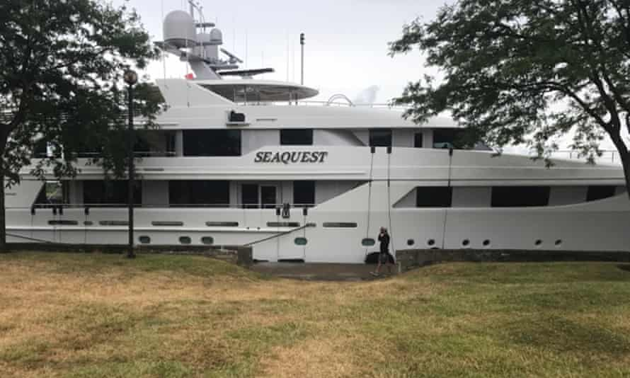 DeVos's yacht docked in Huron, Ohio, before it was vandalized.