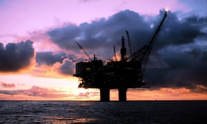 An oil platform in the North Sea.