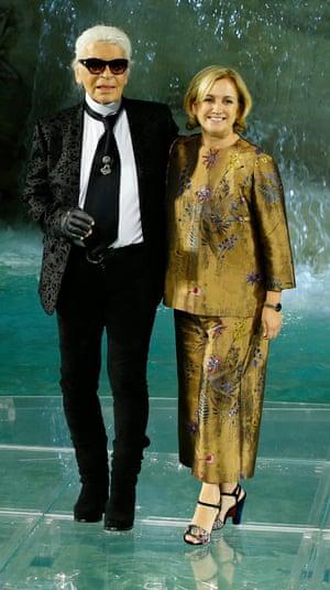 Guiding inspiration: Karl Lagerfeld with Silvia Venturini Fendi.