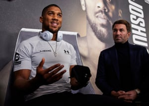 Anthony Joshua and Eddie Hearn attend the pre-fight press conference.