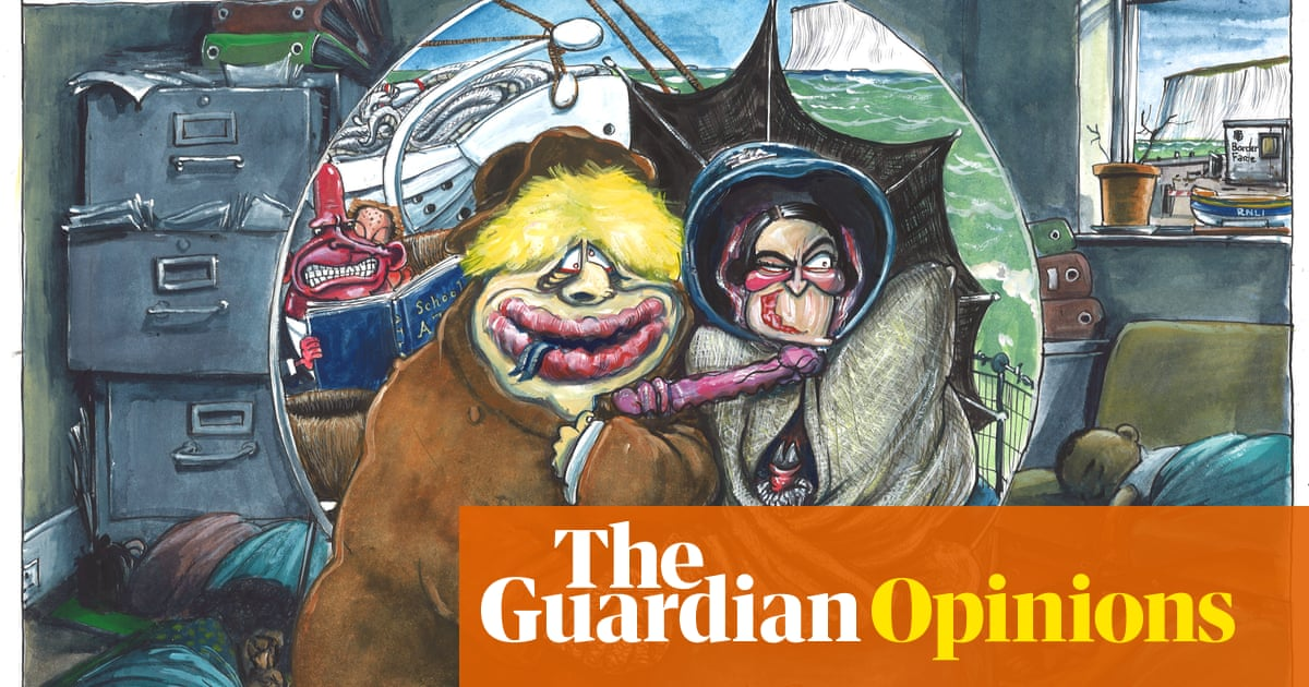 Martin Rowson on refugees forced to sleep in offices – cartoon