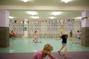 Children play in school in Norilsk