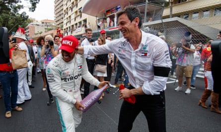 Lewis Hamilton (left) celebrates with the Mercedes principal, Toto Wolff, after winning the 2019 Monaco Grand Prix.