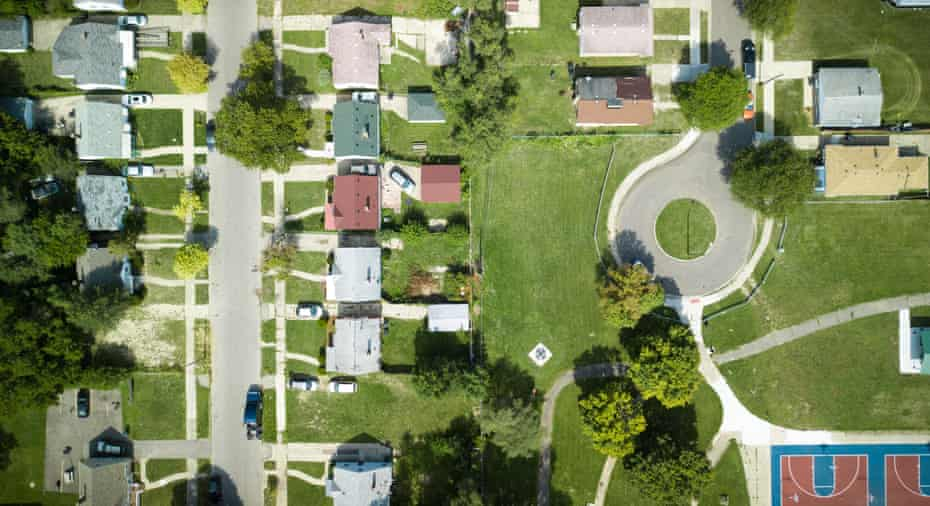 An aerial shot of 8 Mile: at one point this area was segregated, with black people living on the right and white people living on the left. Now, the entire neighbourhood is African American.