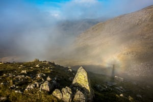A rare sighting of a Brocken spectre in the Langdales Pikes mountain range