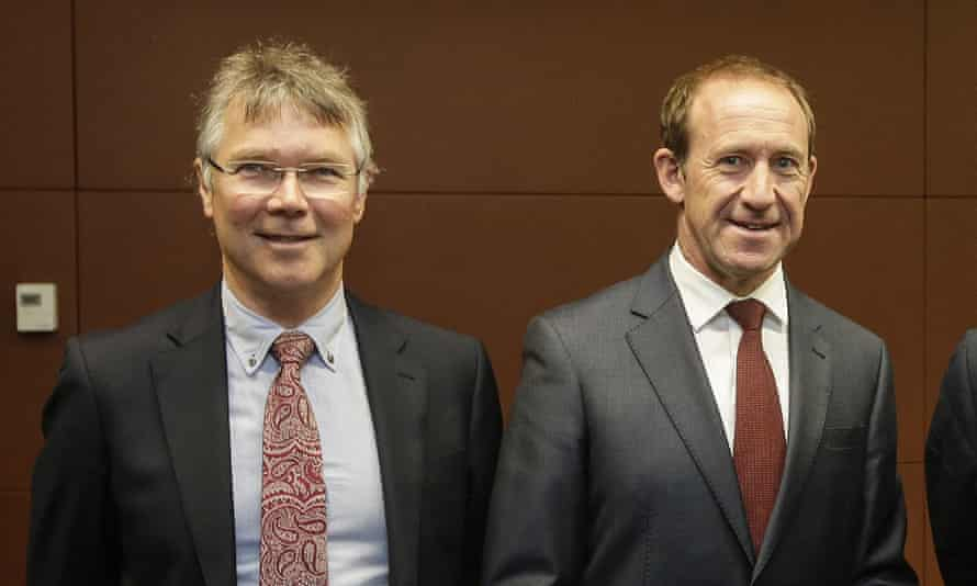 Andrew Little (R) and Labour foreign affairs spokesman David Parker (L).