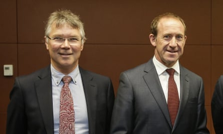 Andrew Little (R) and Labour foreign affairs spokesman David Parker (L).