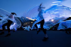 Women dance wearing lights during the lantern festival, part of the Chinese New Year celebrations, on the waterfront. With tourist numbers from China down because of the Coronavirus outbreak, fewer Chinese are visiting New Zealand and the Pacific