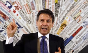 Italian Premier Giuseppe Conte answers reporters' questions during a press conference at the foreign press club in Rome today