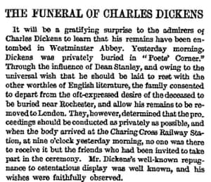 Extract from the report of the funeral of Charles Dickens in the Manchester Guardian, 15 June 1870