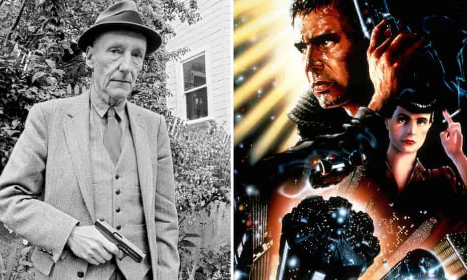 Hollywood cut-up … William Burroughs and artwork for the 1982 poster for Blade Runner.