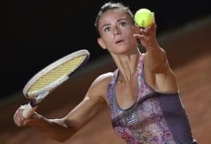 Rome, ItalyCamila Giorgi of Italy serves to Ukraine's Dayana Yastremska during their match at the Italian Open tennis tournament.