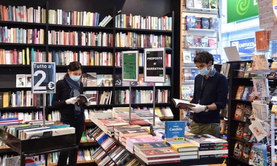 Inside Libraccio bookshop in Turin, Italy, on 4 May,