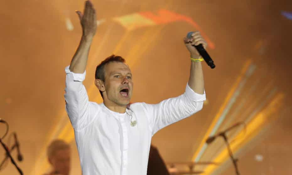 Svyatoslav Vakarchuk, the leader of the Golos (Voice) political party, performs in his electorate ahead of the election. He appears set to help Ukraine's president form a coalition.