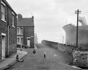 Housing and Shipyard, Wallsend, Tyneside, 1975.