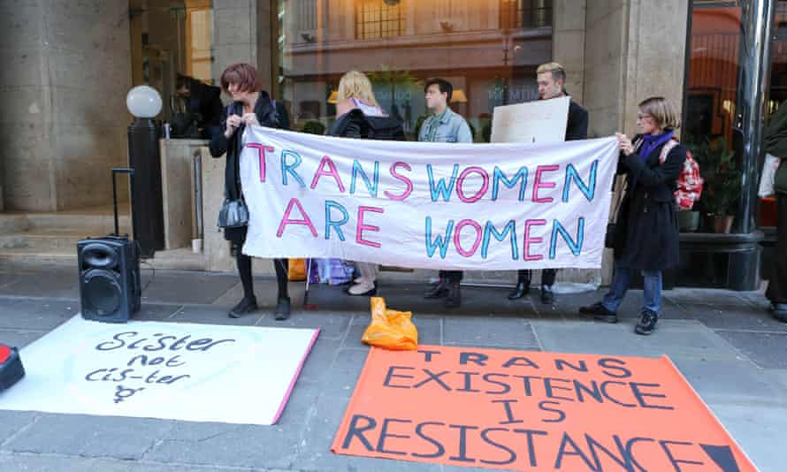 A protest against transphobic media coverage in London last month.