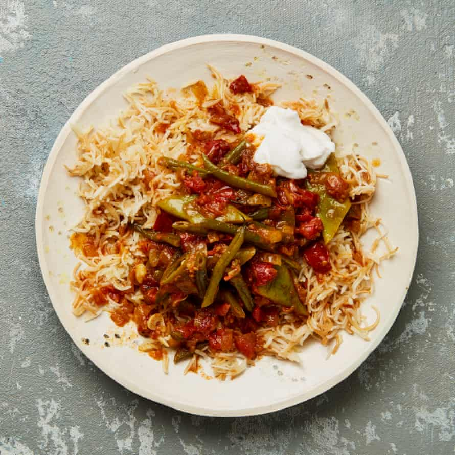 Meera Sodha's Lebanese green beans and vermicelli rice.