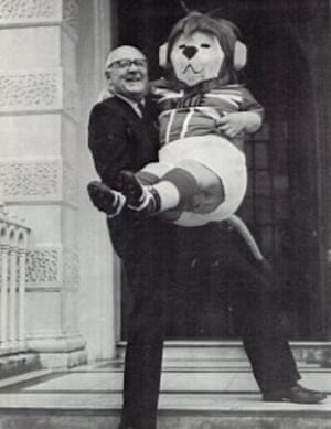 Sir Denis Follows outside the FA headquarters with World Cup Willie, the 1966 World Cup mascot.