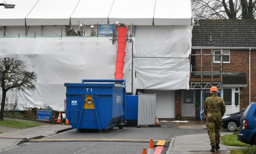 The Skripal house being decontaminated in Salisbury.